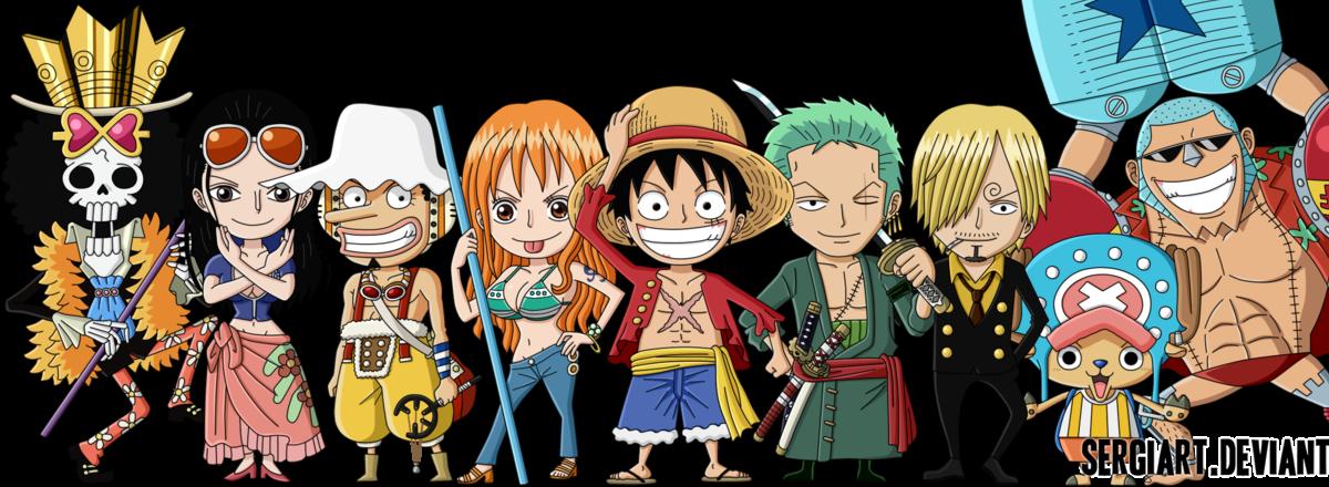 Cropped Straw Hats Pirates 2 Years Chibi Png 1200 440 Anime Chibi Zelda Characters