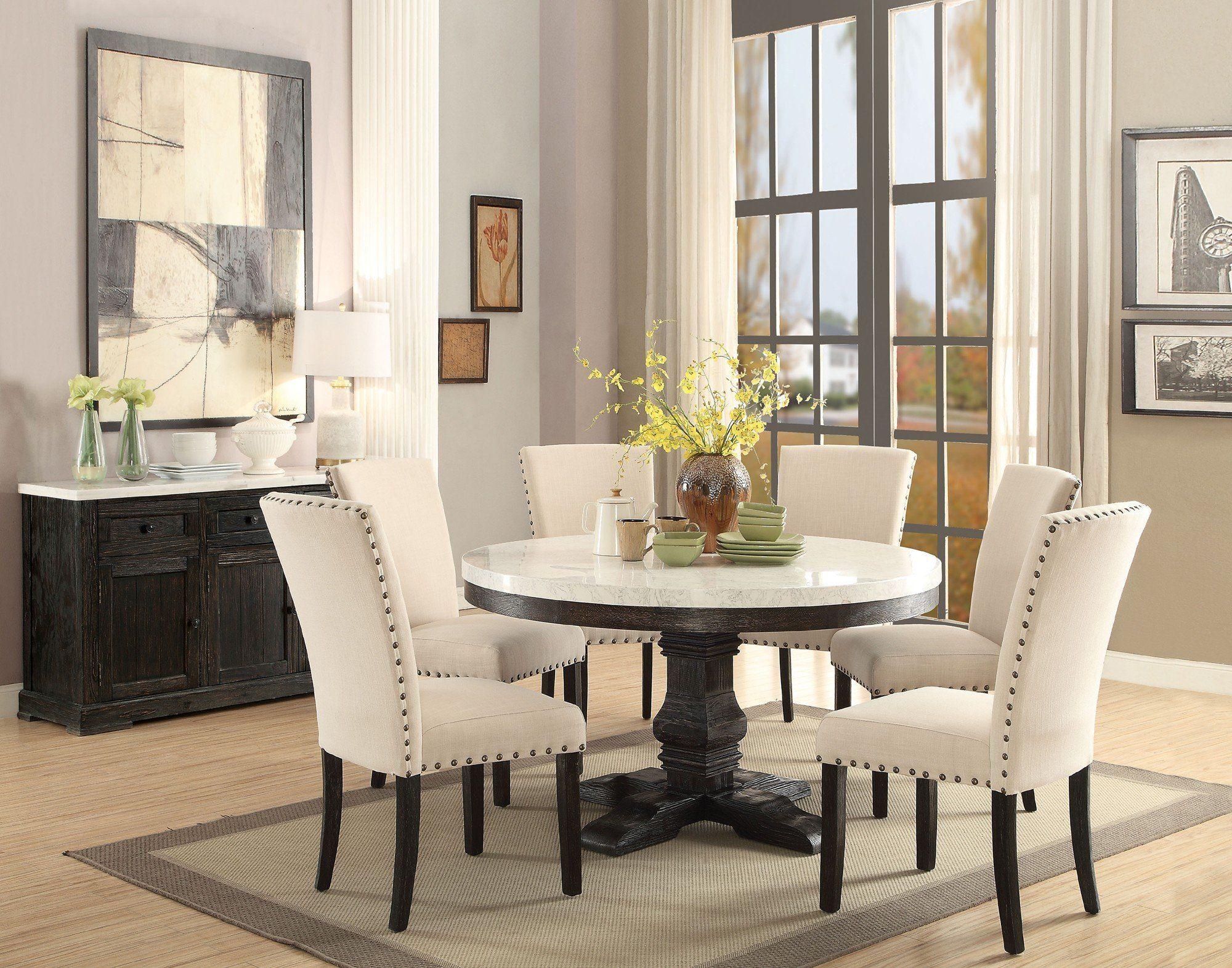 Acme 72845 Nolan 5Pcs White Marble Top Round Dining Table Set ...