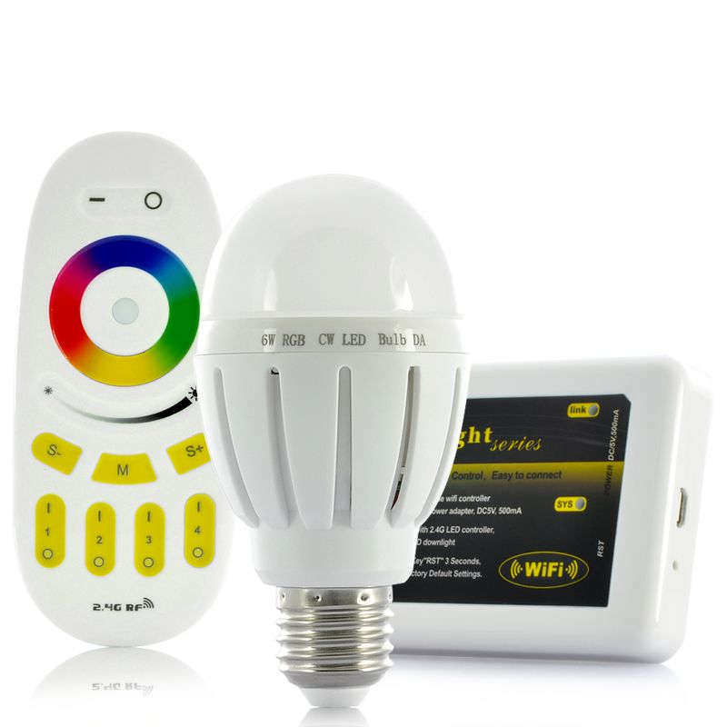 Remote Control 6w Rgb Led Light Bulb With Wi Fi Control Kit For Ios And Android Devices With Images Rgb Led Lights Led Light Bulb Rgb Led
