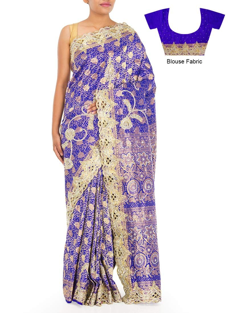 Blue n golden hand embellished saree indian clothes i like