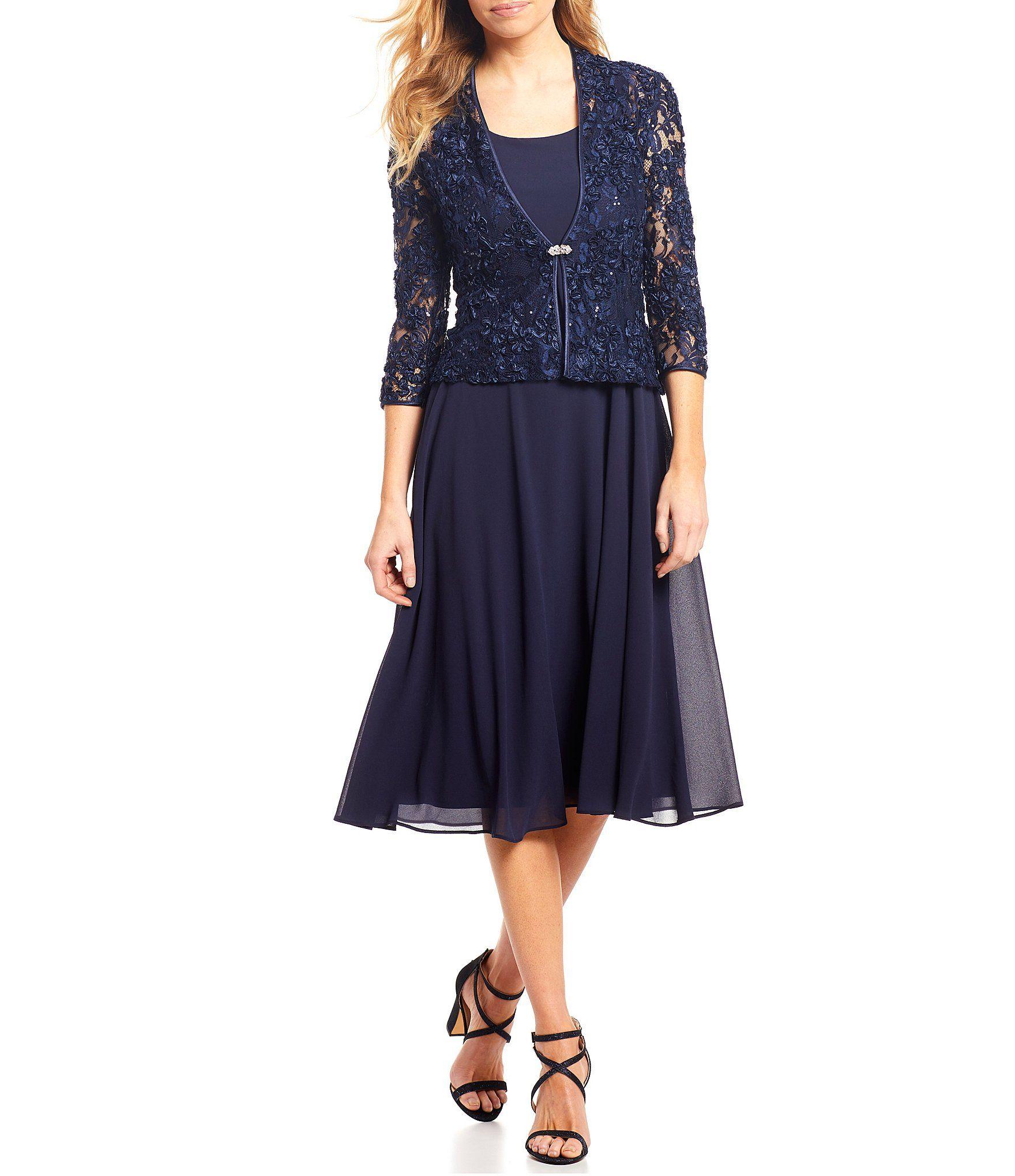Jessica Howard Petite Size Soutache Lace 2 Piece Midi Length Jacket Dress Dillard S In 2021 Chiffon Midi Dress Jacket Dress Tea Length Bridesmaid Dresses [ 2040 x 1760 Pixel ]