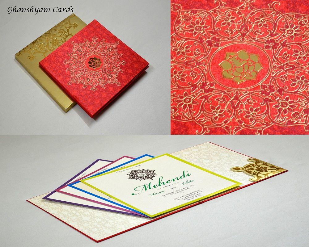 Designer Wedding Card in Red , Orange & Golden motifs with Ganesha ...
