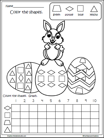 Free Easter Math Shapes Graph for Kindergarten | Ostern ...