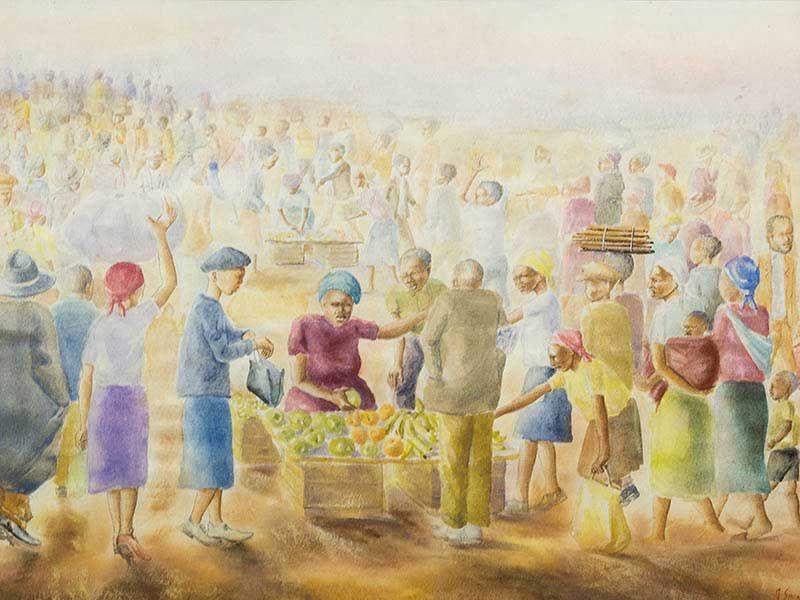 Durant Sihlali (SA 1935 - 2004) Watercolour, Market Scene