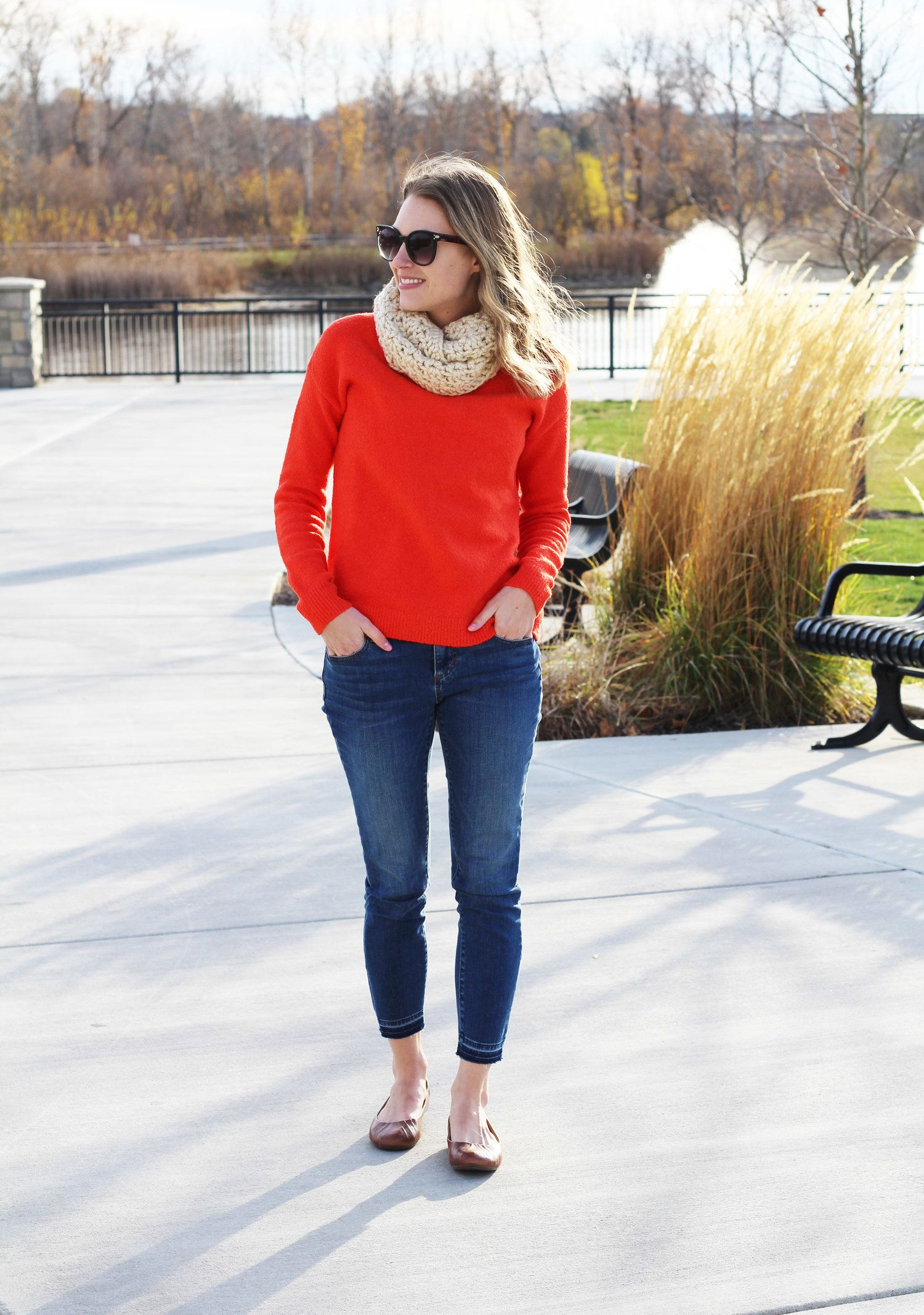 Bright red sweater outfit with skinny jeans and brown flats — Cotton  Cashmere Cat Hair 520de5a77