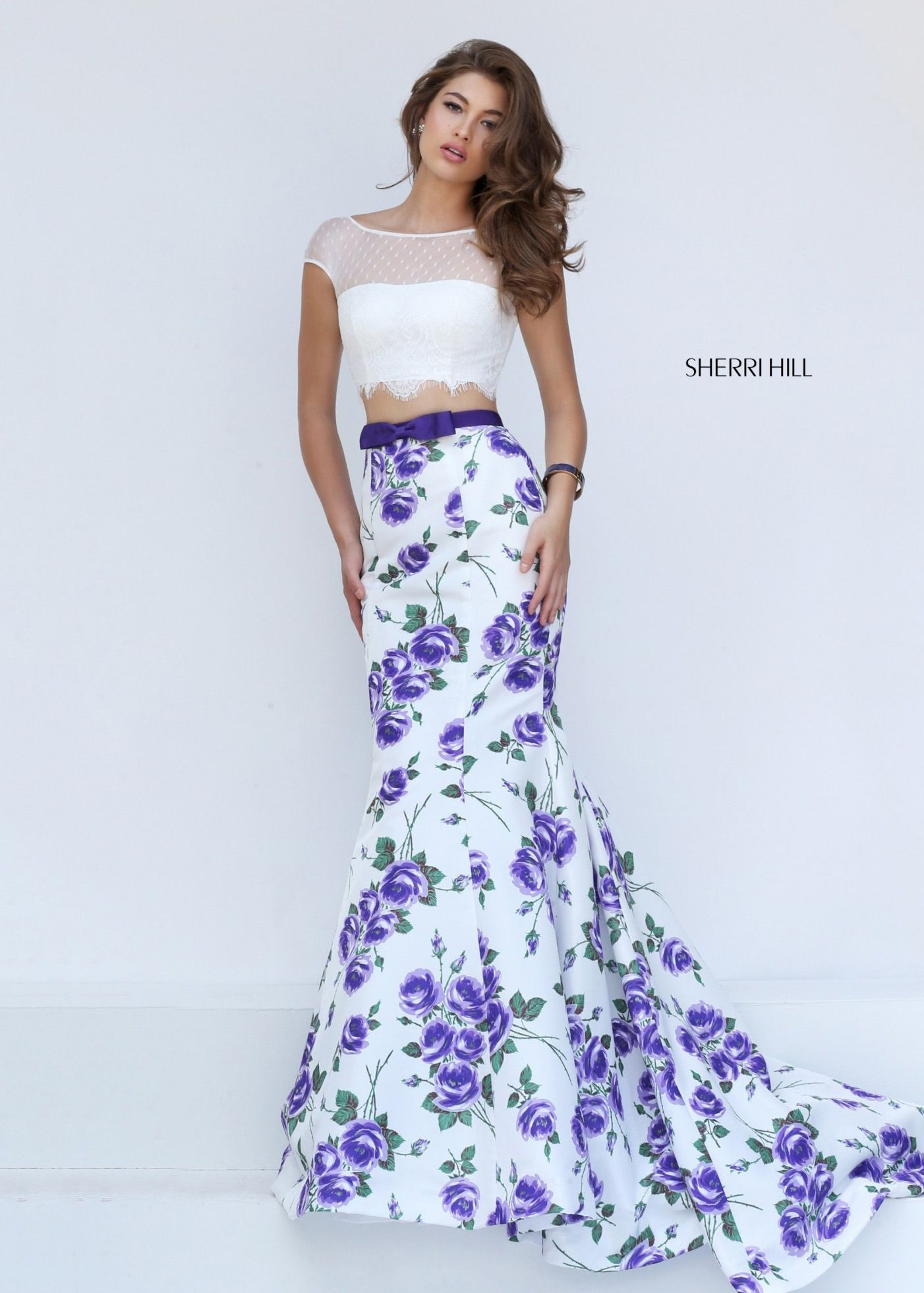 Sherri Hill 50421 Printed Two Piece Mermaid Gown For Sale | Fancy ...