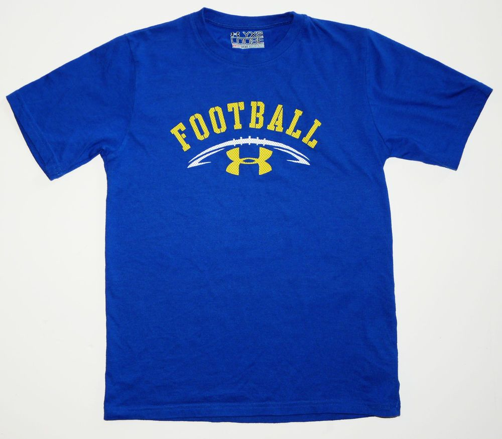 5a51f3c50150 Under Armour Football T-Shirt Loose Heat Gear Youth Boys XS Royal Blue  Yellow  UnderArmour