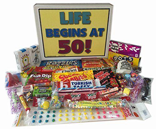 50th Birthday Party Celebration Gift Basket Box Of Retro Nostalgic Candy