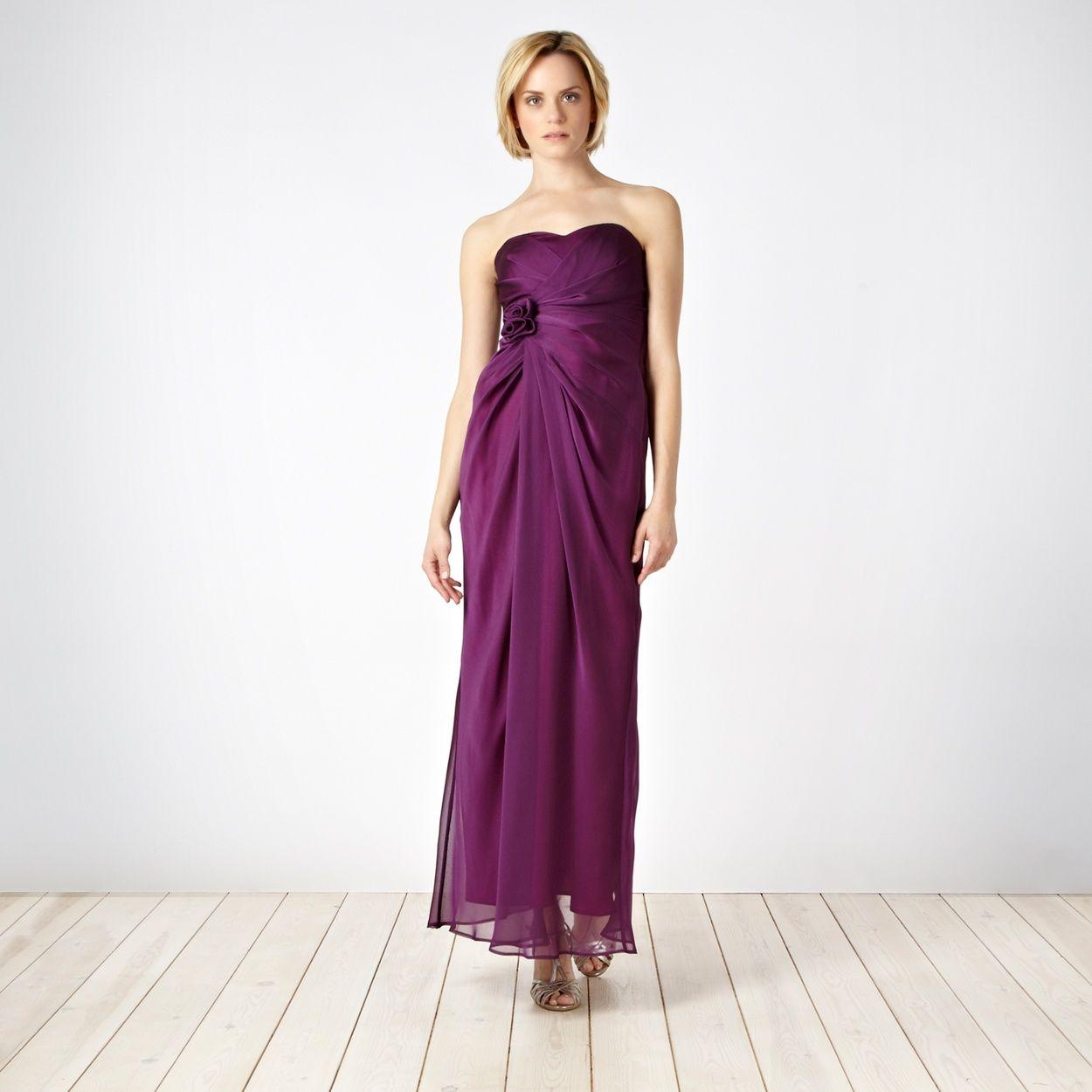 Debut Plum corsage bandeau maxi dress- at Debenhams.com | Wedding ...