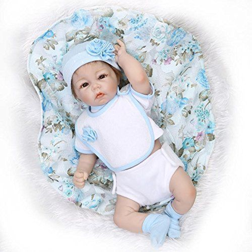 Nicery Reborn Bambino Bambola Morbido Silicone Mezza Vinile 20 Pollici 50 Centimetri Magnetica Bocca Realistica Ragazzo Ragazza Vestito Blu Giocattolo Baby Doll A3IT
