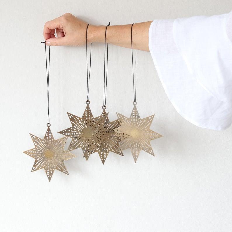 Decoration pendant made of stars for the Christmas tree. Scandinavian Christmas decoration #weihnachtsdeko2019trend
