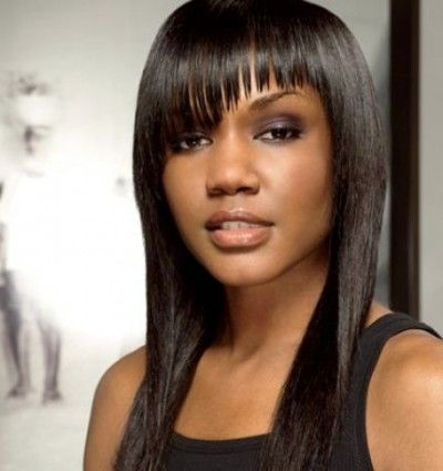 Long bob style with angular bangs for African American ...