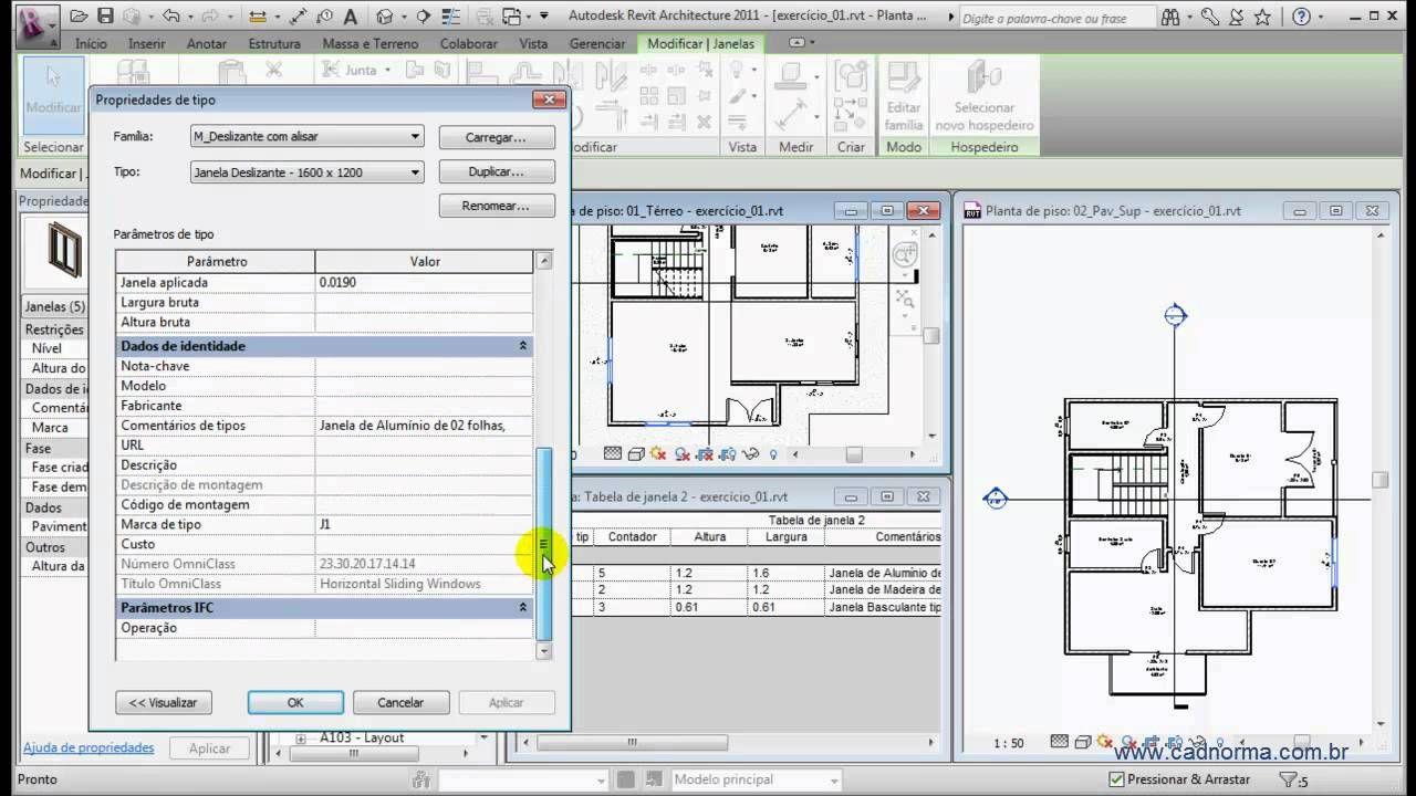 Revit Ii E2 06 Tabelas De Esquadrias Floor Plans