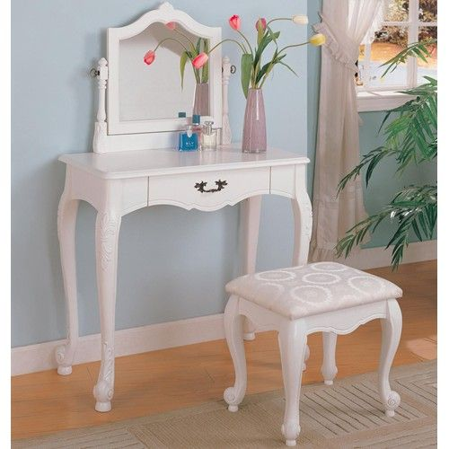 Coaster Vanities Traditional Vanity and Stool with Fabric Seat - Bedroom Vanity Table