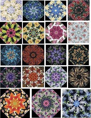 """34 Kaleidoscope Quilt Block Kit - HUGE LOT- 12 Designs Large 10"""" Blocks"""