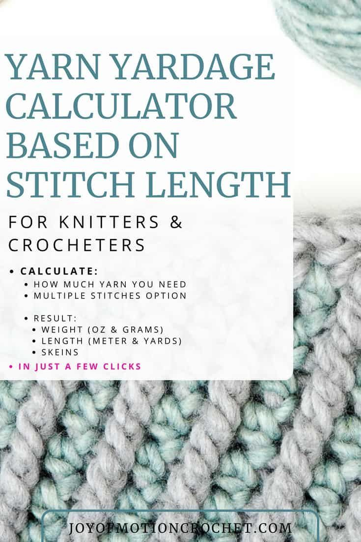 Yarn yardage calculator based on weight for knitters and crocheters.