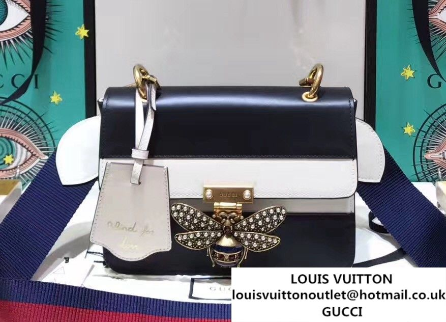 64bfb71f52c Gucci Queen Margaret Leather Metal Bee Detail Shoulder Small Bag 476542 2017
