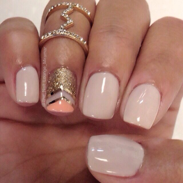 Nails Simple Gold Coral Nail Art Design Great Deals Free