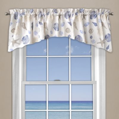 Seashore Coral Window Curtain Valance In Blue Valance Curtains