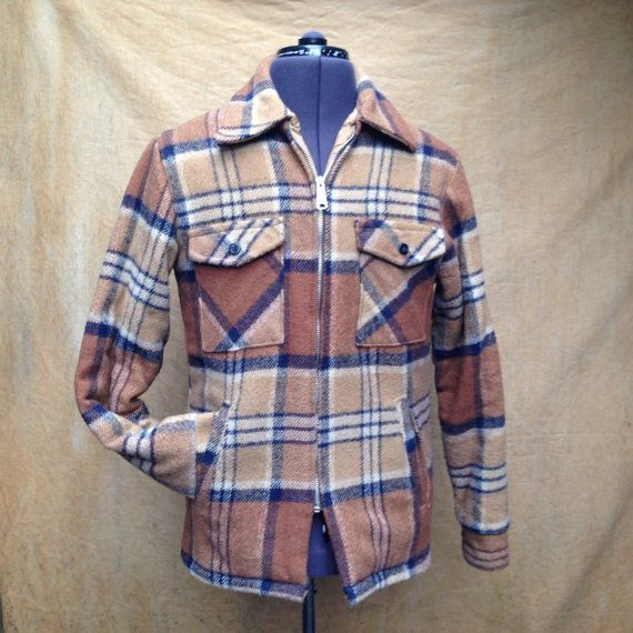 Vintage Plaid Blue Brown Chore Jacket, Mens Size 40. Soft and warm. Naval style buttons. Full zipper. Four front pockets.