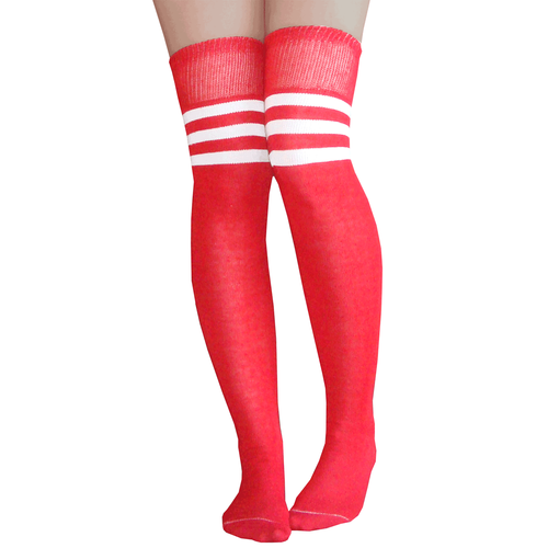 57b9ff7a7 Athletic striped over the knee socks in red white. Made in USA Chrissy s  Socks 877-862-6267