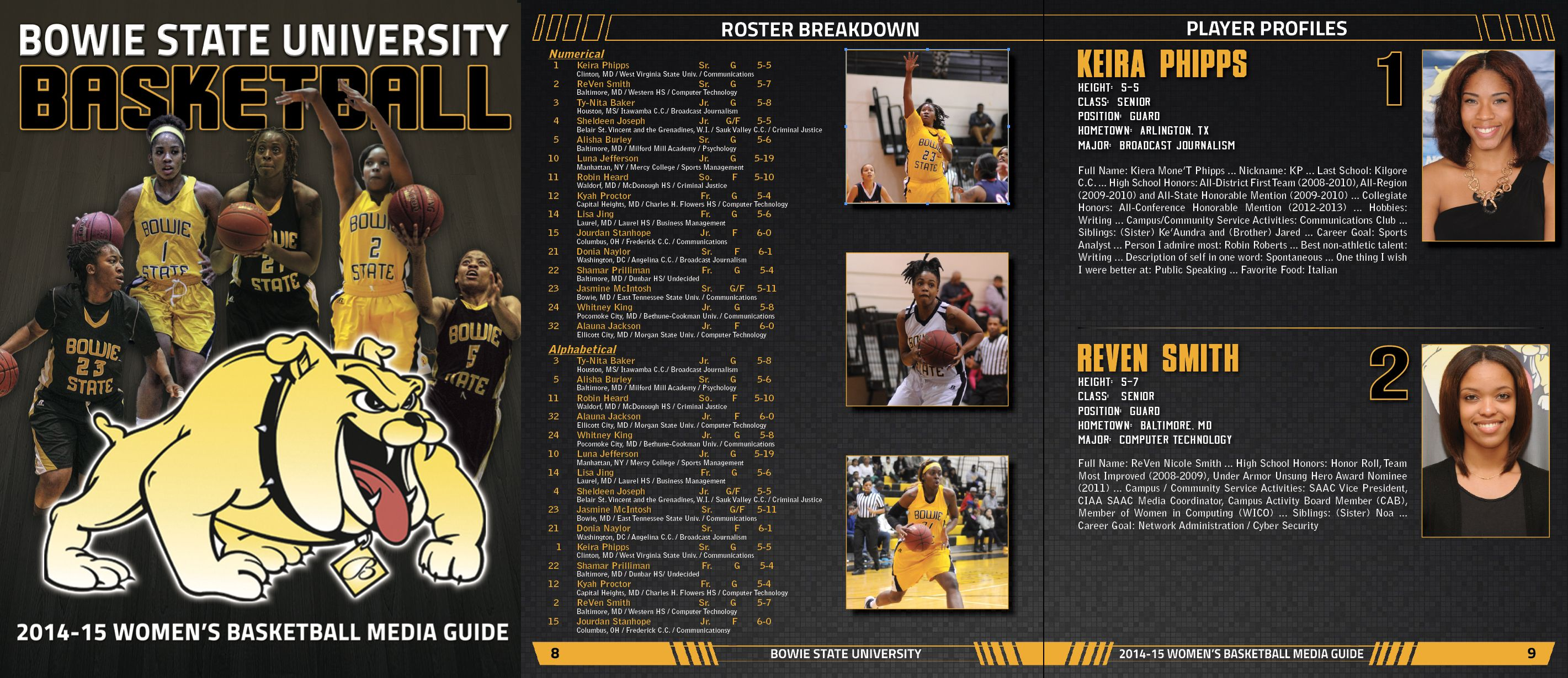 Bowie State Women's Basketball media guide online guide
