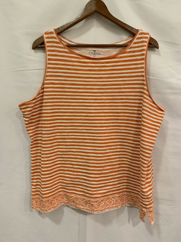 fdcff8bec86 Talbots Woman Size 2X All Cotton Orange White Striped Tank Top Sleeveless  Shirt #Talbots #TankTop #Casual