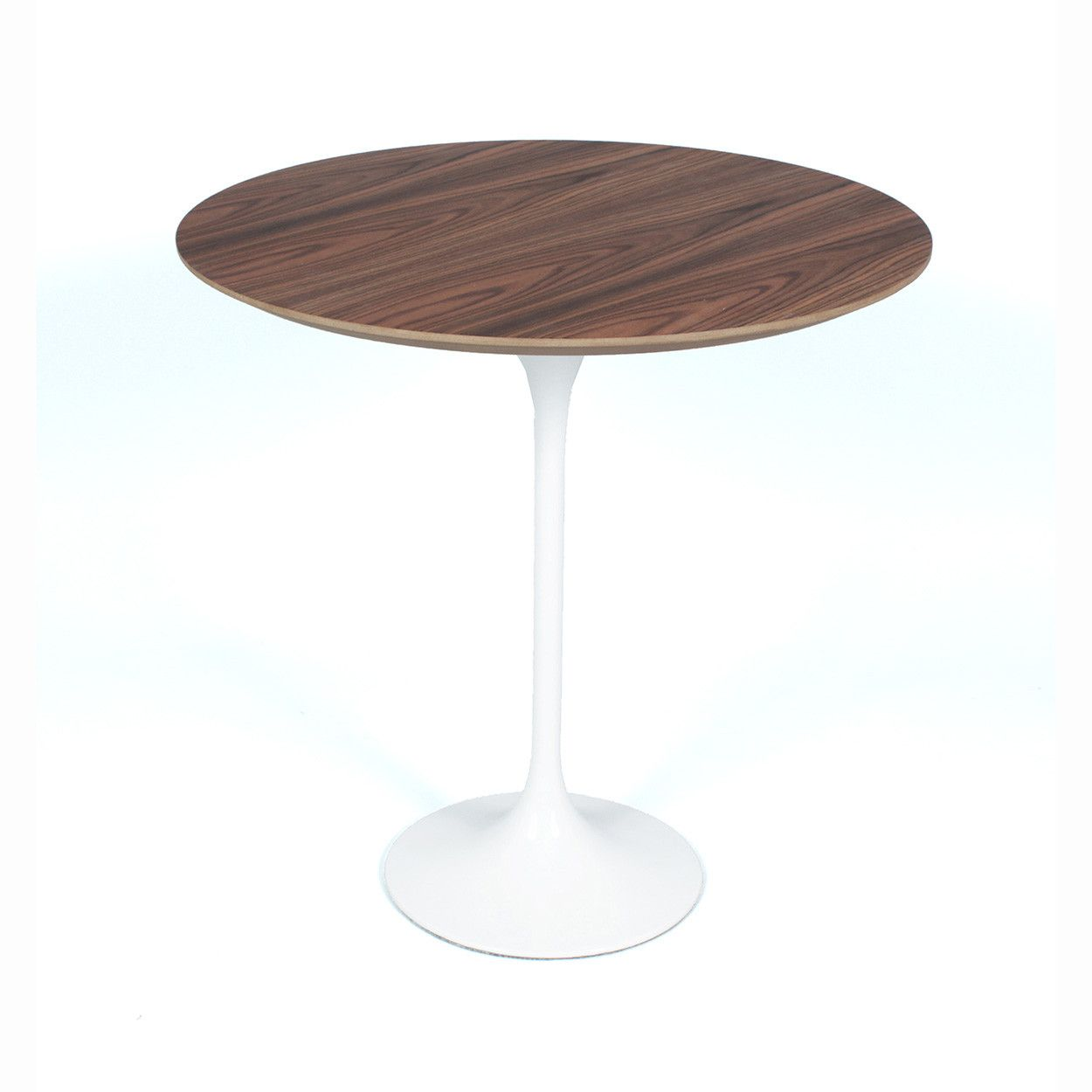 Mid Century Modern Reproduction Tulip Side Table Walnut Top