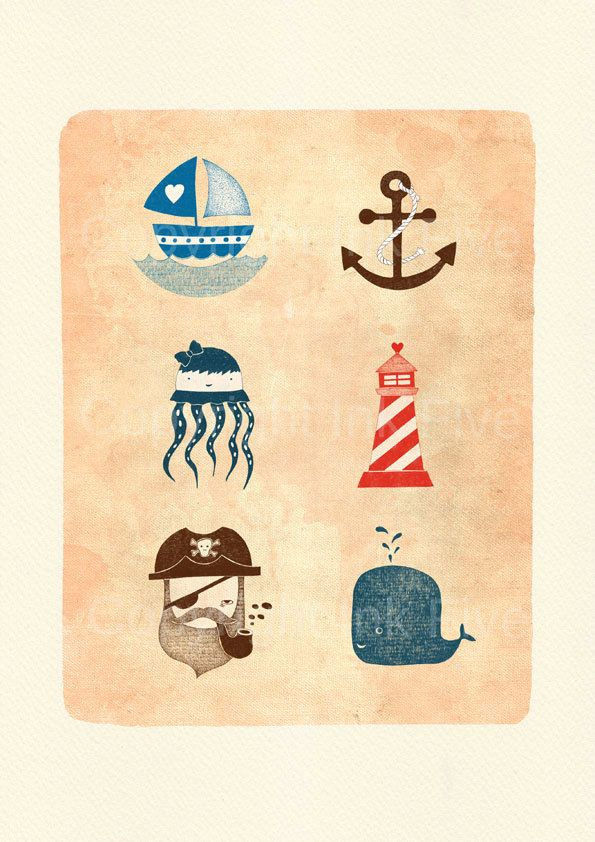 Nautical Journey art print. Kids room wall art. Whimsical cute sea ...