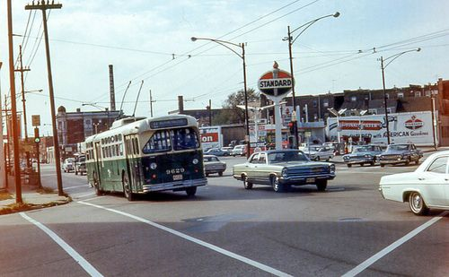19681005 31 CTA 9629 Belmont Ave. @ Elston Ave. by davidwilson1949 on Flickr.