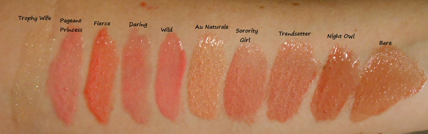 E.L.F Mineral Lip Gloss Swatches Trophy Wife, Pageant Princess ...