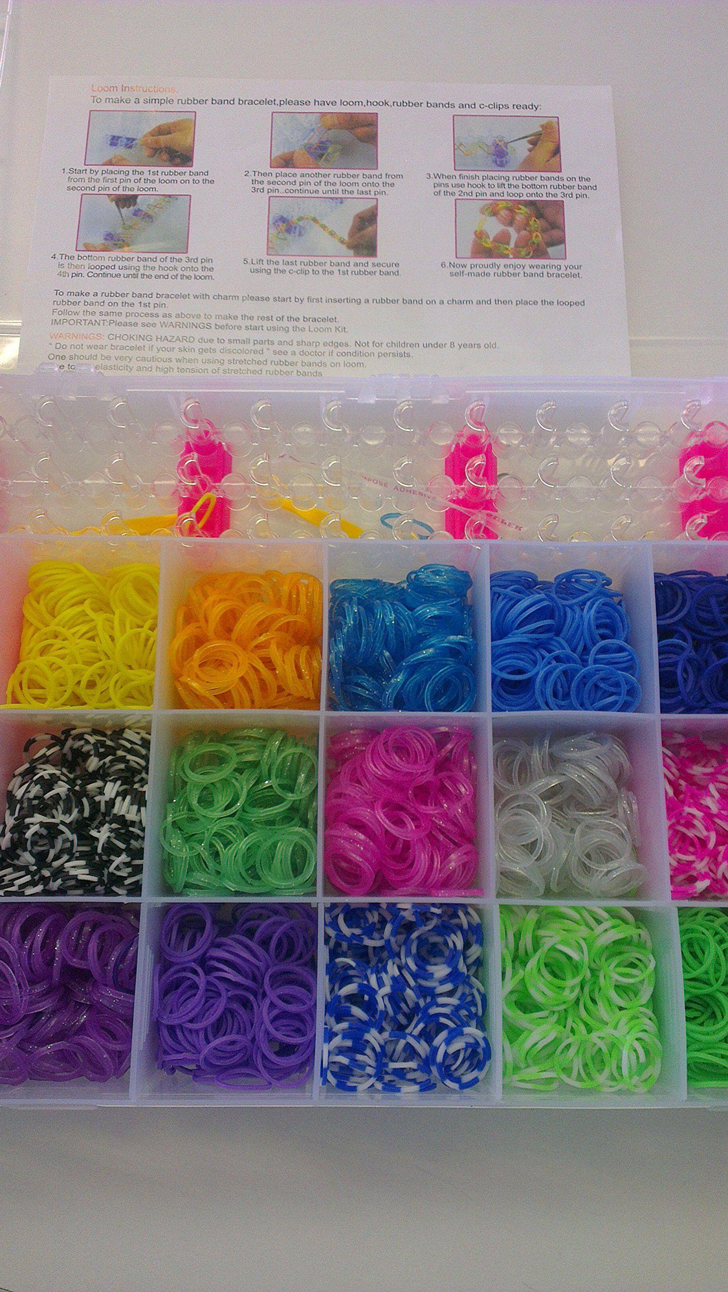 4200 Colourful Rainbow Rubber Loom Bands Bracelet Making Kit Set Organiser Box