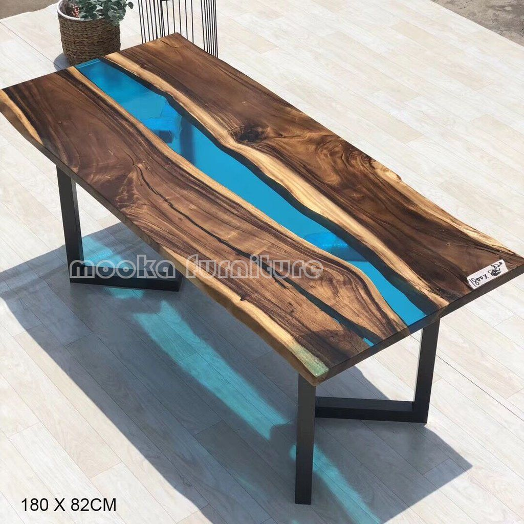 Mkrt 190616 River Dining Table With Blue Epoxy Resin And Walnut Wood