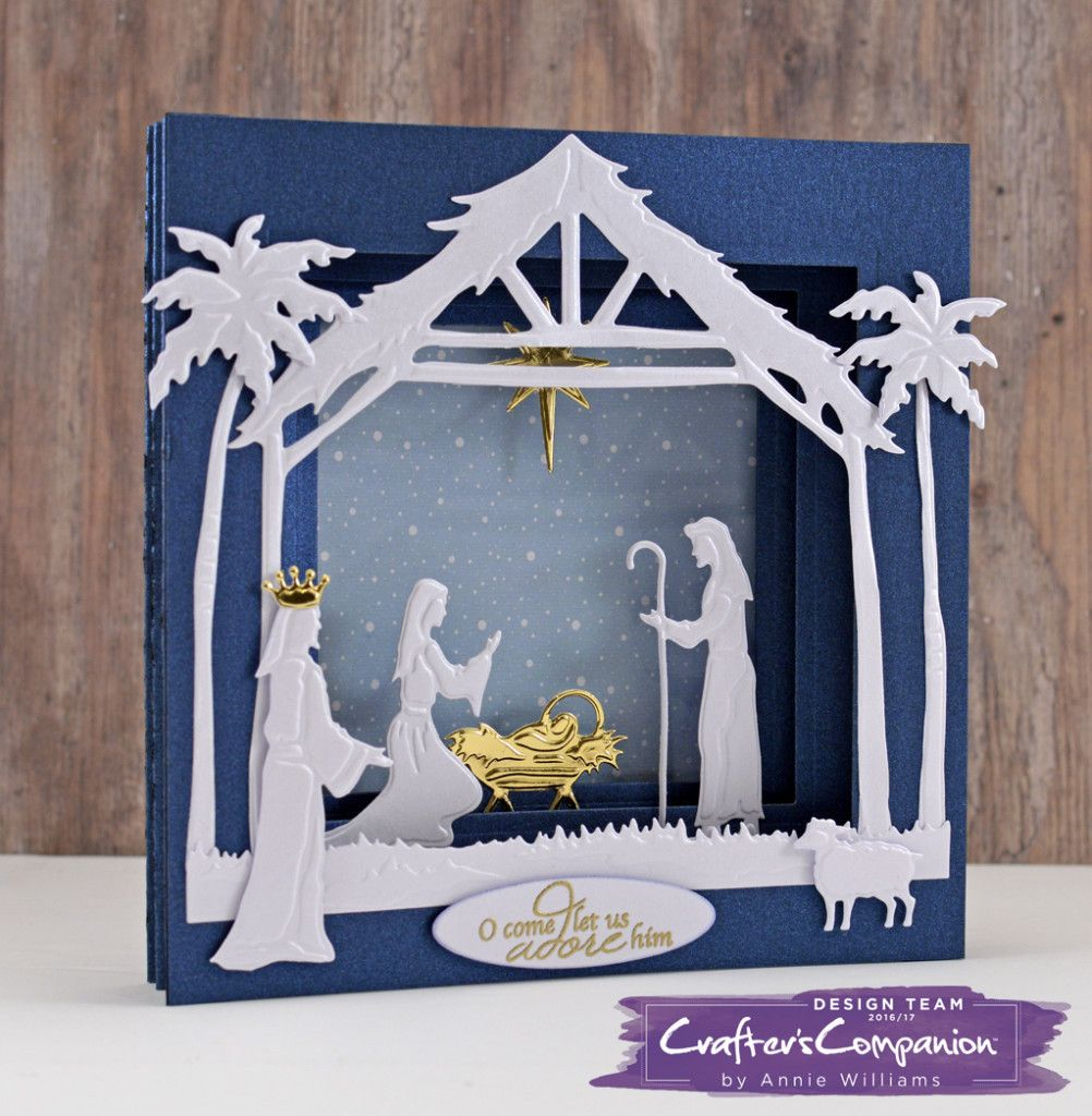 Create A 3d Nativity Tunnel Card Crafter S Companion Blog Crafters Companion Christmas Cards Nativity Christmas Cards Christmas Cards