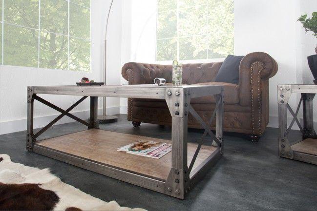 design couchtisch industrial 120cm mit ablage akazie geb rstet metallkorpus mt store center. Black Bedroom Furniture Sets. Home Design Ideas