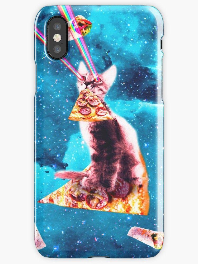 Space cat eating pizza rainbow laser eyes burrito