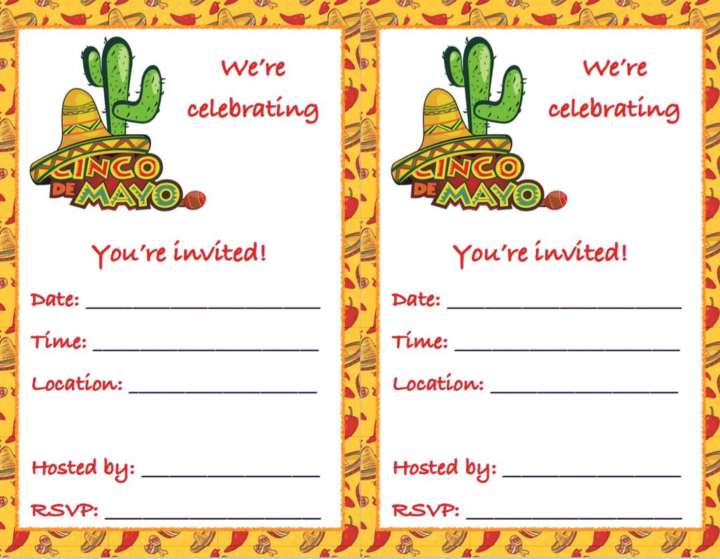 Free Printable Cinco De Mayo Invitations 3 Designs Mexican Party Invitation Cinco De Mayo Invitation Template