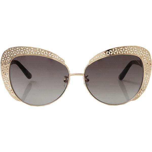 Oscar De La Renta Floral Cat Eye Sunglasses ($405) ❤ liked on Polyvore featuring accessories, eyewear, sunglasses, glasses, oscar de la renta, floral sunglasses, cateye sunglasses, metal frame glasses and cat-eye glasses