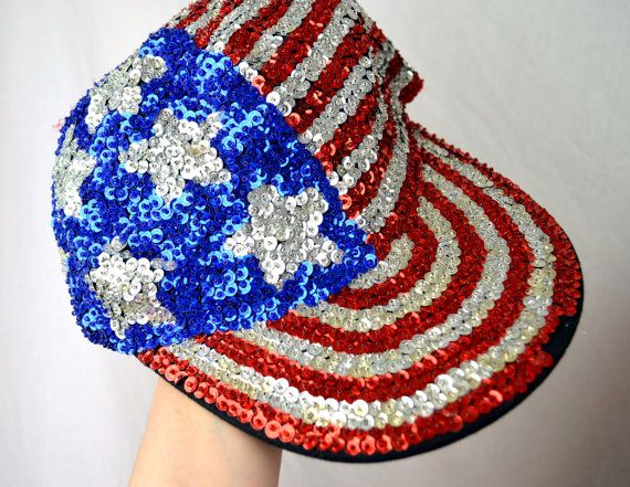 Vintage 80s USA Sparkle Sequin Hat by RogueRetro on Etsy