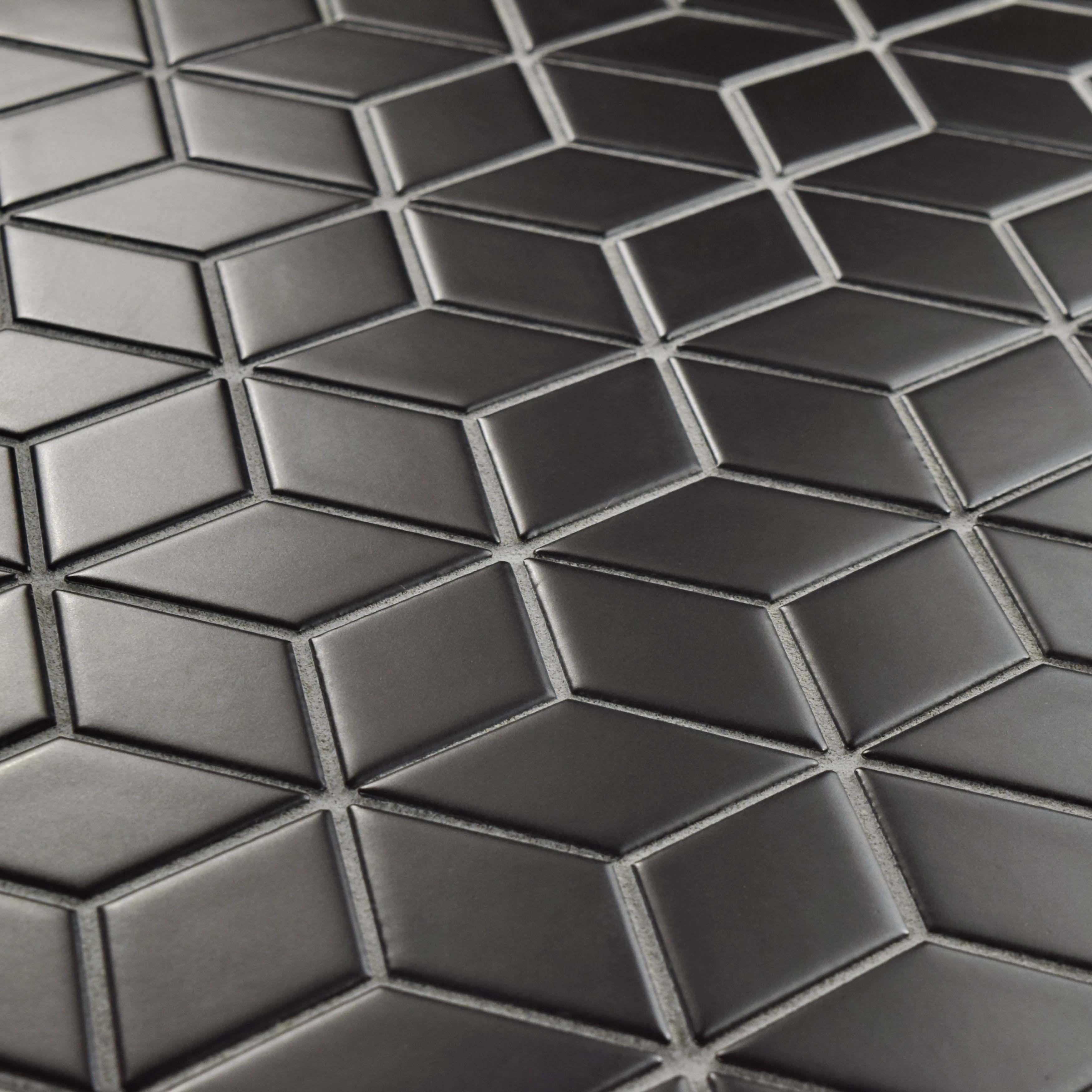 Somertile 10 5x12 125 Inch Victorian Rhombus Matte Black Porcelain