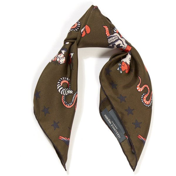 Alexander McQueen Khaki Skull Tattoo Foulard Scarf ($140) ❤ liked on Polyvore featuring accessories, scarves, skull print scarves, alexander mcqueen scarves, silk shawl, square silk scarves and tying square scarves