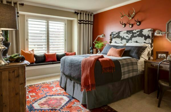 Burnt orange accent with tan walls and grey/burnt orange accents ...