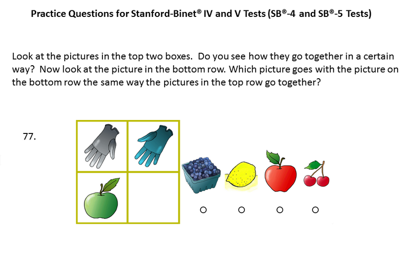 Sample Patrice question for the Stanford-Binet® - 5 test, level ...