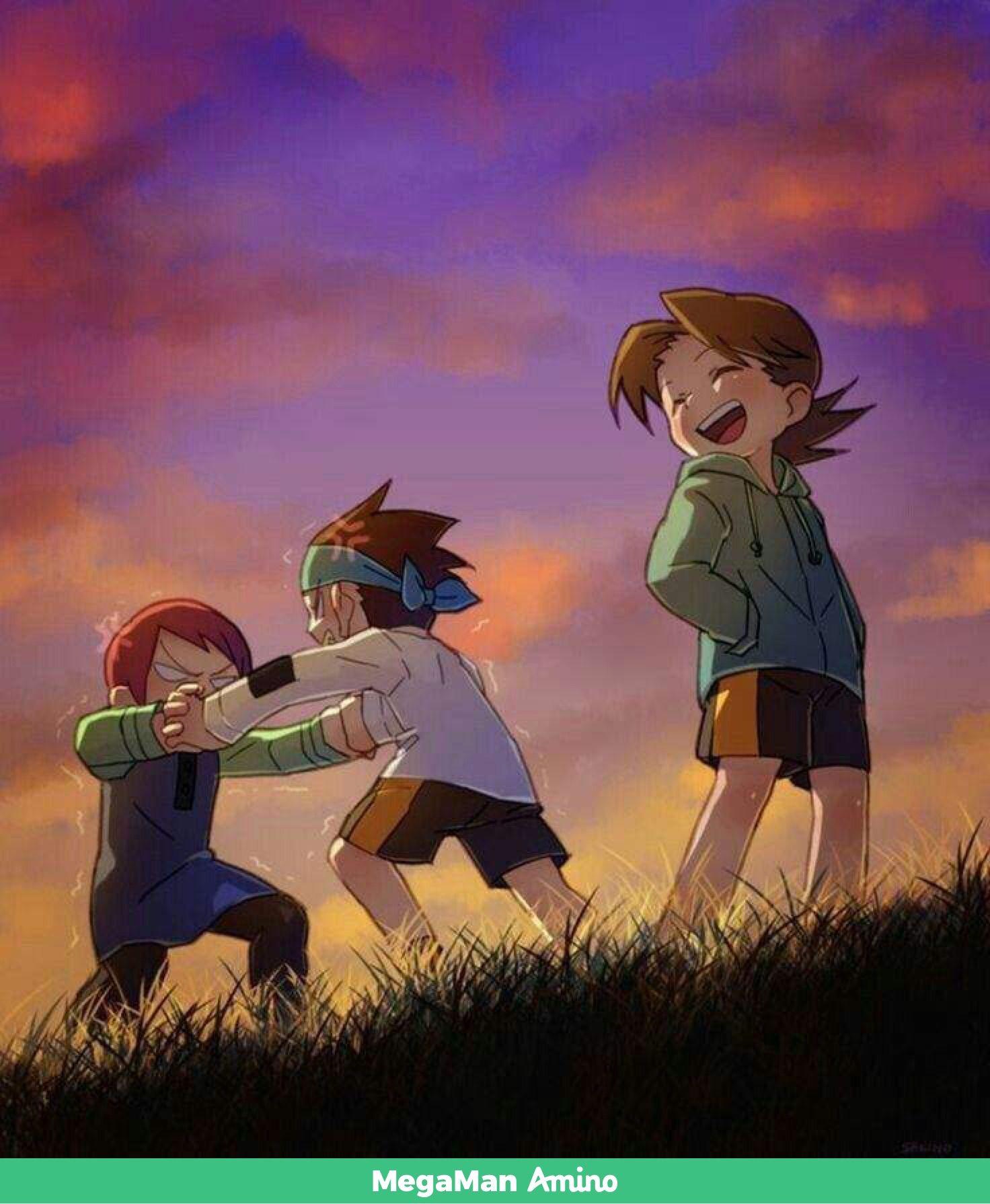 Hub Lan And Mayl As Kids Mega Man Art Mega Man Anime