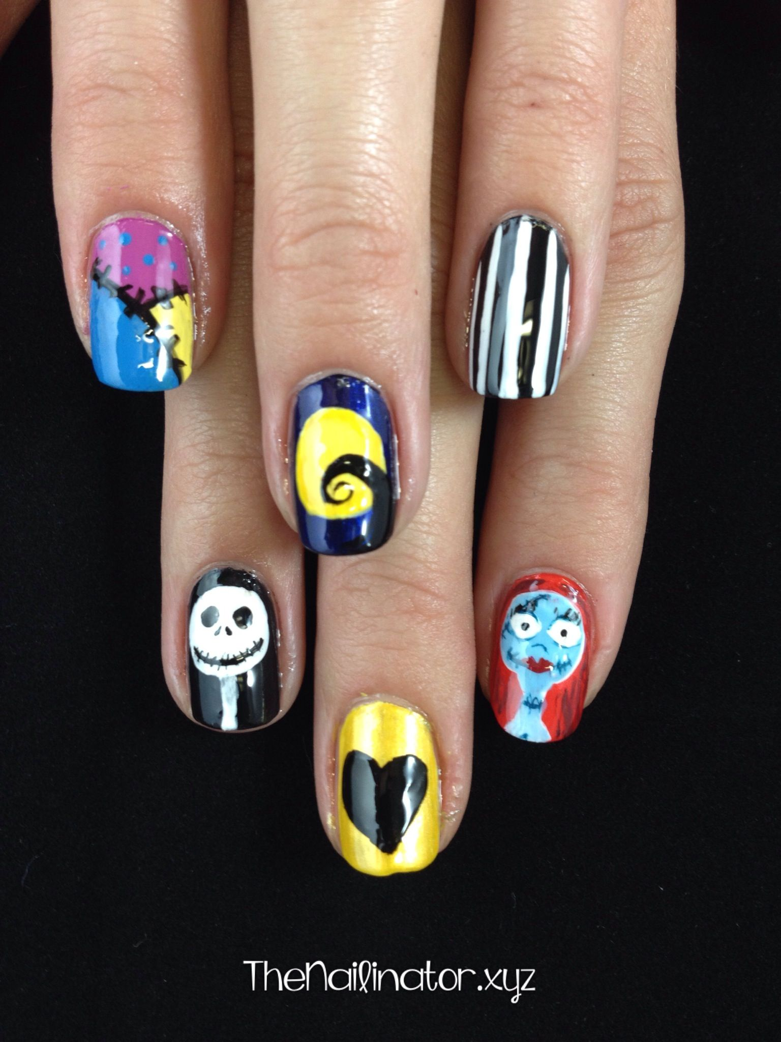 Nightmare Before Christmas Nail Art Jack And Sally My Nails