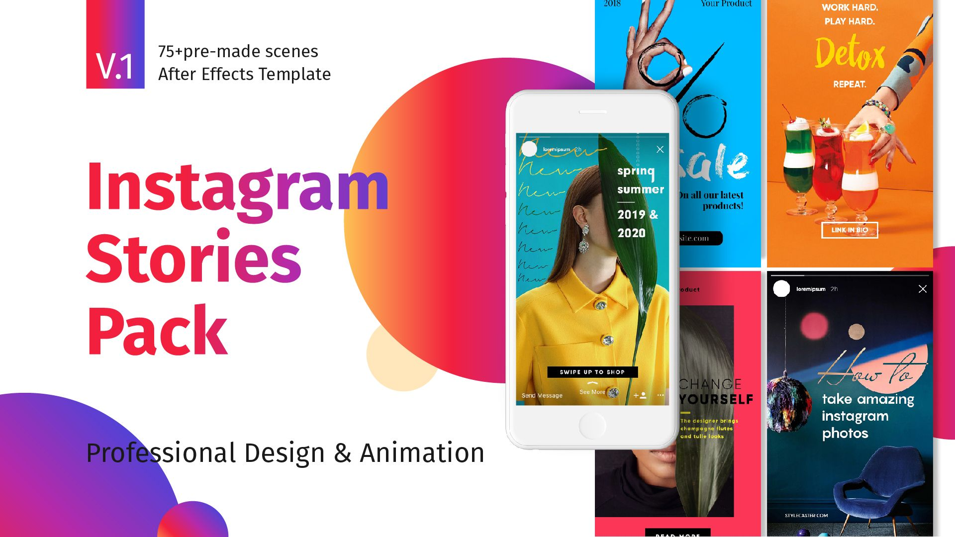 Instagram Stories Pack Ad Instagram Sponsored Stories Pack In 2020 Instagram Story After Effects Instagram