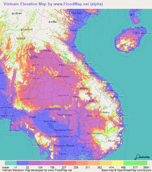 Vietnam Elevation Map Hanoi Research Map World History Lessons