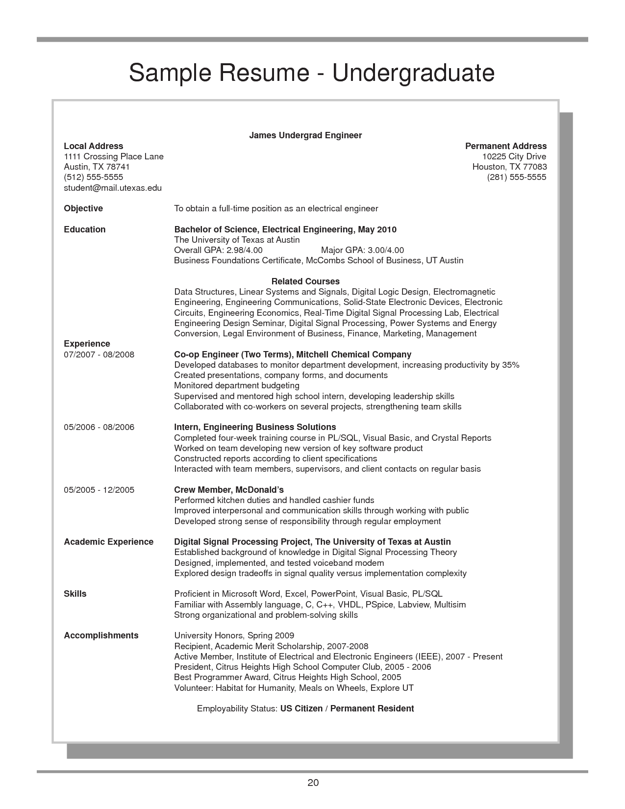 Mccombs Resume Template Undergraduate Resume Example Clinical Nurse Specialist Sample
