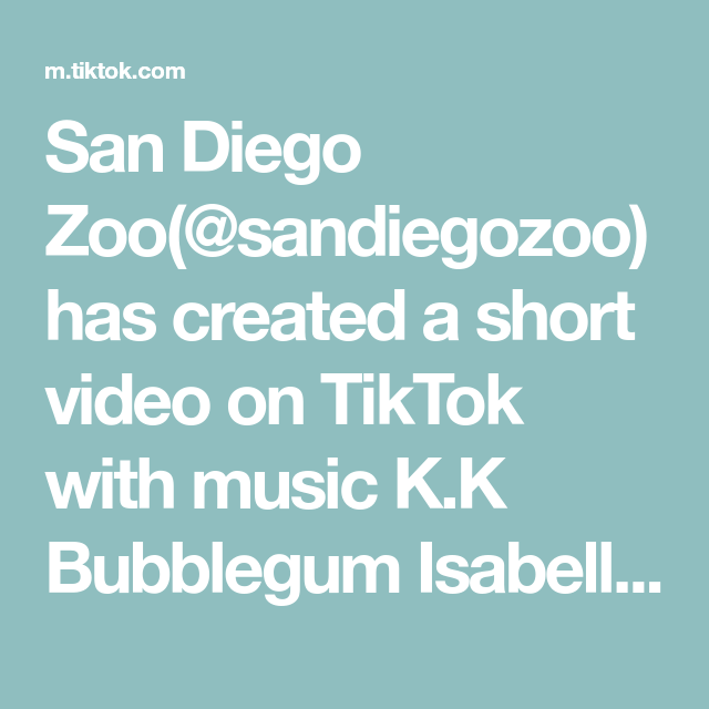San Diego Zoo Sandiegozoo Has Created A Short Video On Tiktok With Music K K Bubblegum Isabelle Edition By Derebere It S The In 2020 San Diego Zoo Bubble Gum Diego