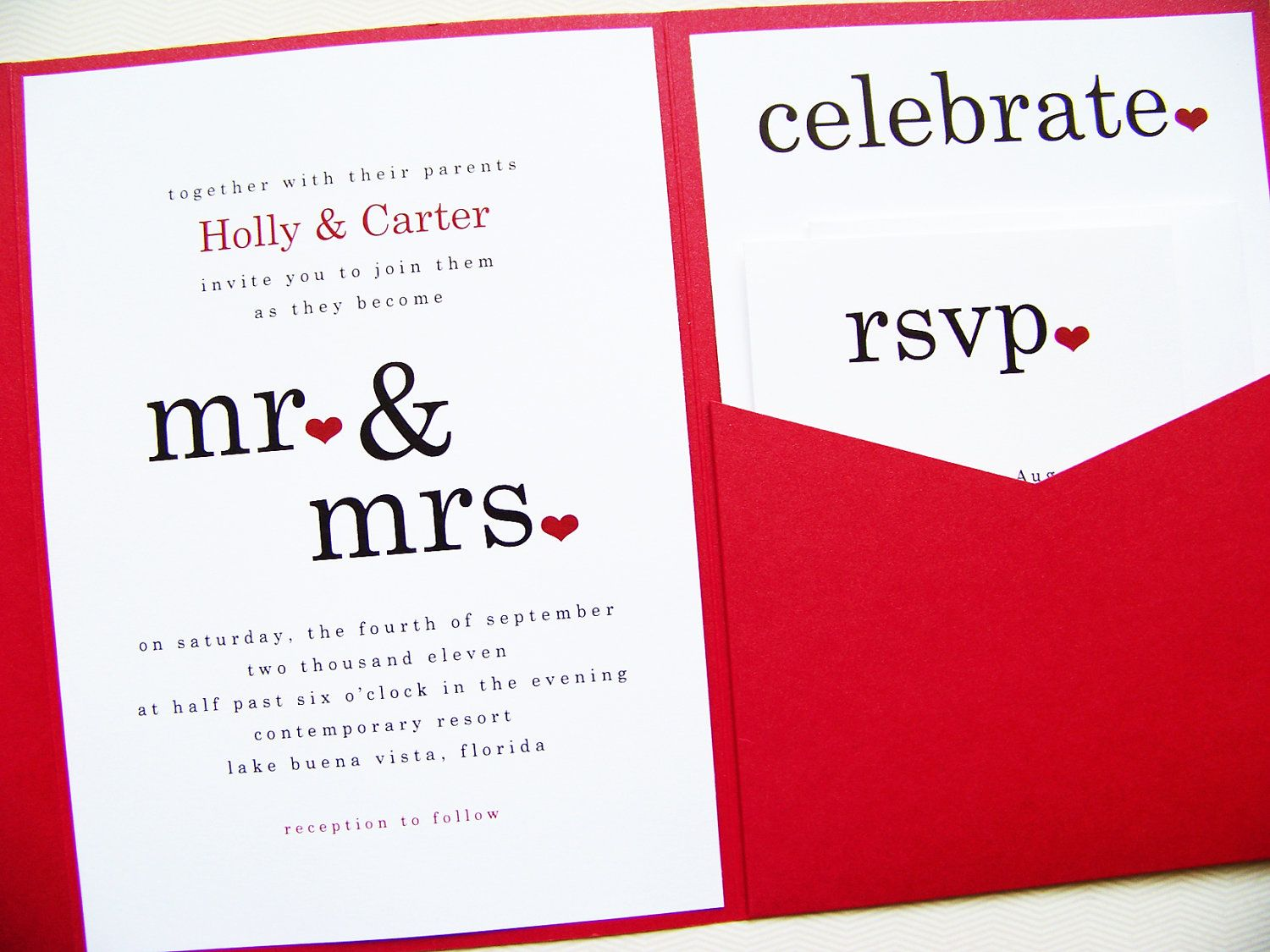 Mr and Mrs Wedding Invitations Pocketfold Invitations Pocket Fold ...